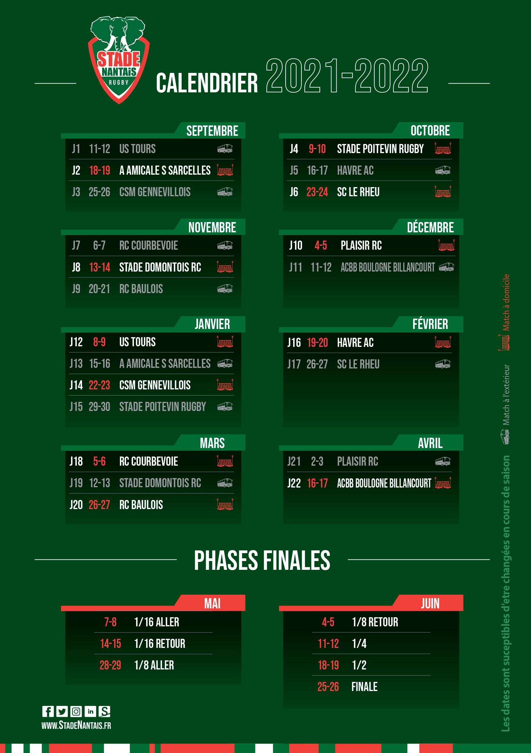 Calendrier Mcdo Avril 2022 Stade Nantais | Calendrier Saison 21/22